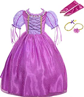 Lito Angels Girls Princess Dress Up Costume Halloween Christmas Fancy Princess Dress Outfit with Long Braid Wig and Arm Mitt