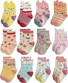 RATIVE Non Skid Anti Slip Cotton Dress Crew Socks With Grips For Baby Infant Toddler Kids Girls