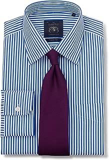 Savile Row Company Men's Blue Twill Stripe Classic Fit Non-Iron Shirt - Single Cuff
