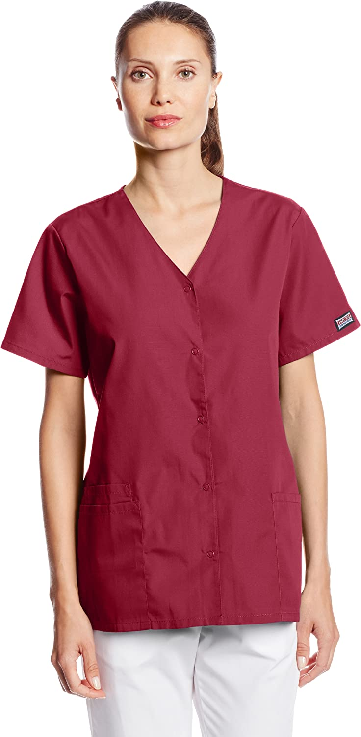 Cherokee Women's Workwear Snap Front V-Neck Scrubs Shirt: Clothing, Shoes & Jewelry