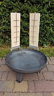 Czaja Feuerschale Durchmesser 55 cm mit 2 er Set Flammlachsbrettern 2er Set Räucherbrett aus Buchenholz inkl. Edelstahlhalterungen