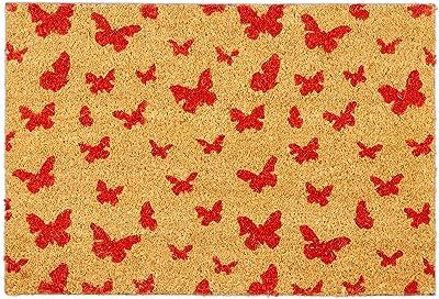 Relaxdays Doormat Coconut 40 x 60 cm Butterfly Design Non-Slip Shoe Mat Indoor & Outdoor Natural/Red