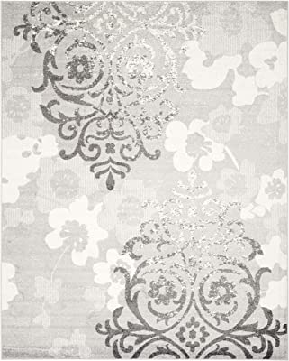 Safavieh Adirondack Collection ADR114B Silver and Ivory Contemporary Chic Damask Area Rug (10' x 14')