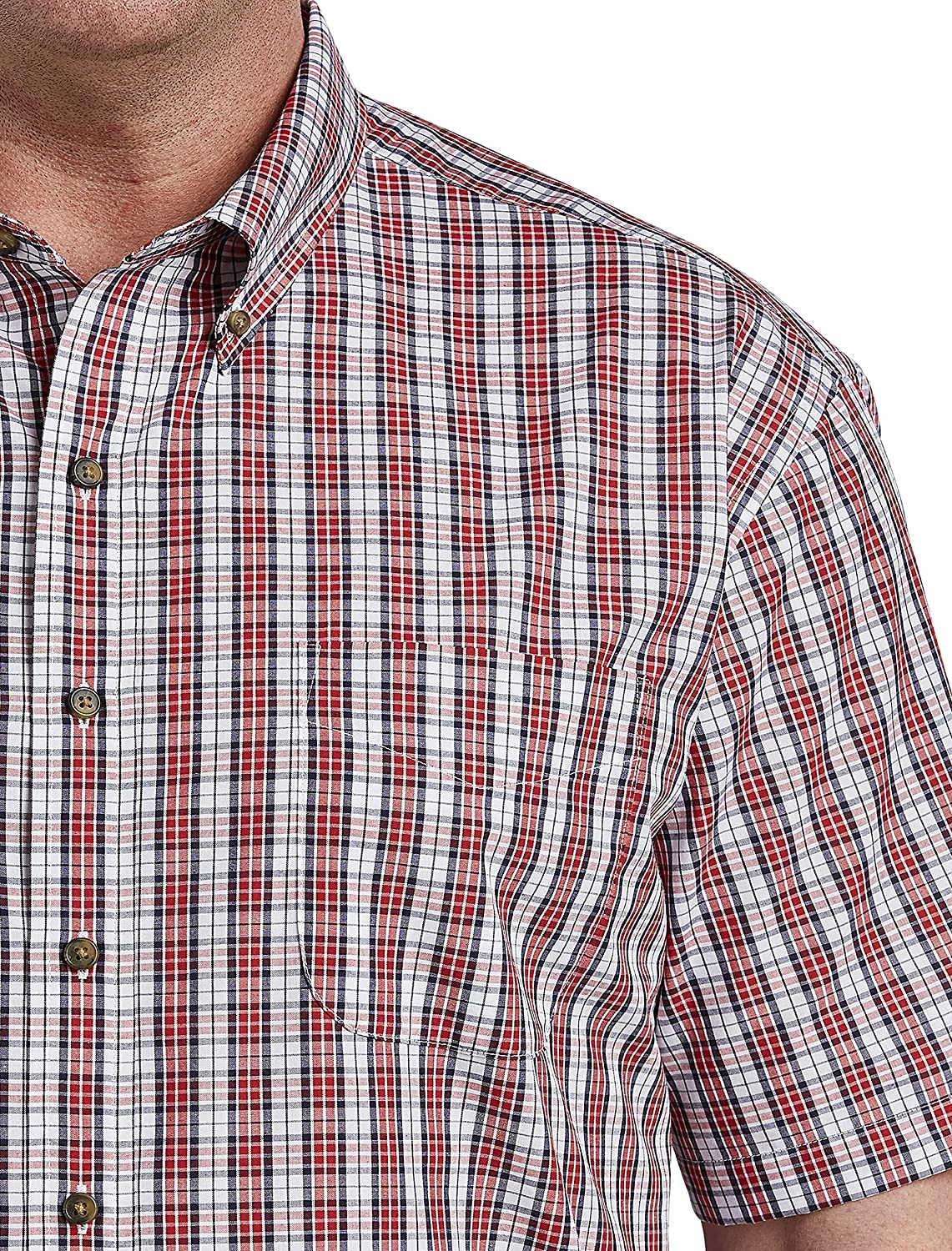 Harbor Bay by DXL Big and Tall Easy-Care Small Plaid Sport Shirt, Navy/Red, 1XL