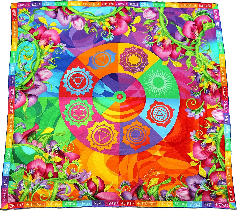 Pure silk square scarf floral women's wrap Chakras   chakra symbols colors spiritual yoga gift