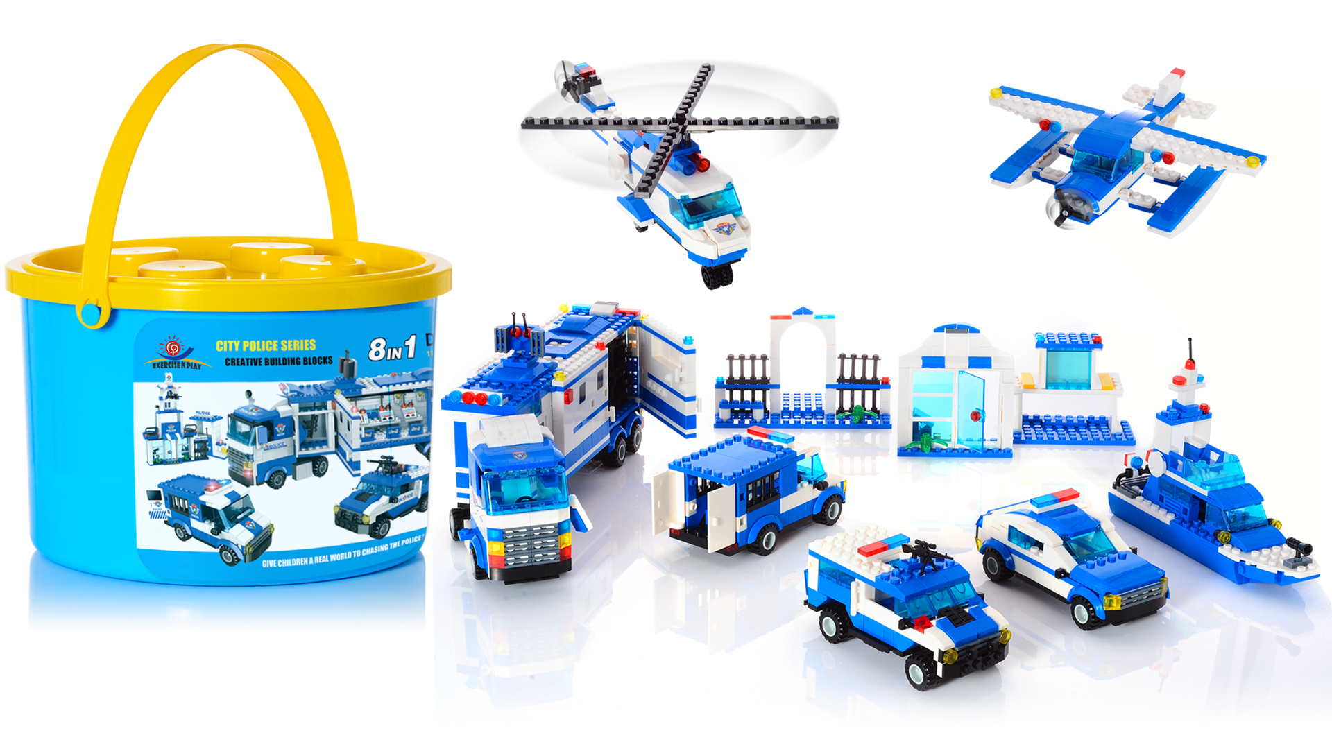 City Police, City Station Building Sets, 8 in 1 Mobile Command Center Building Bricks Toy with Cop Car & Patrol Vehicles, Storage Box with Baseplates Lid, Present Gift for Kids Boys Girls 6-12