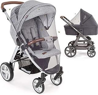 Mosquitera / Red antiinsectos universal para capazo, silla de paseo y cuna de viaje - Protección ideal contra picaduras, resistente, con goma elástica y lavable, color gris