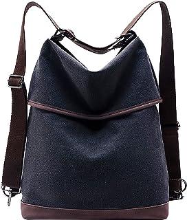 KALIDI Damen Canvas Tasche Schultertasche Rucksack Groß Handtasche Vintage Damen Umhängentasche 2 in 1 Anti Diebstahl Tasche Leder Hobo Tasche für Alltag Büro Schule Ausflug Einkauf,Schwarz