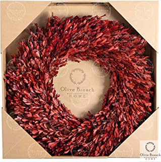 Olive Branch Home Red Christmas Preserved Boxwood Wreath 22 Inch