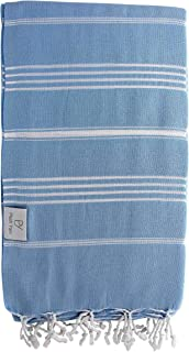 Plush Yarn Classic Peshtemal Turkish Made Bath / Beach Towel, 100% Authentic Premium Turkish Cotton 100cm x 180cm (Sky Blue)