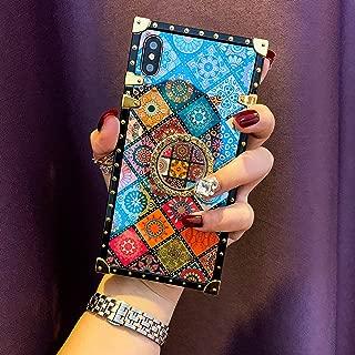 KAPADSON for iPhone 7PLUS /8 Plus Newest Blu - Ray Retro Shining Skin Design TPU Gold Square Corner Protective Back Case with 360 Degree Holder - Folk Style 2