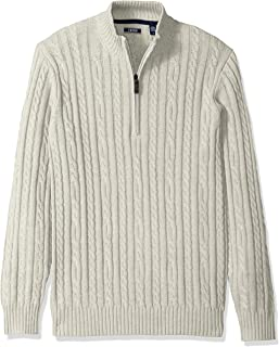 IZOD Men's Premium Essentials Solid Quarter Zip 7 Gauge Cable Knit Sweater, Edifice Heather, Large