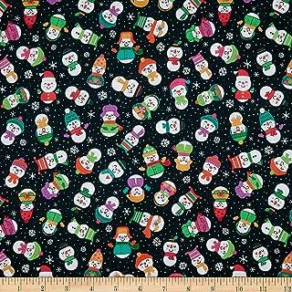 Patrick Lose Fabrics Studio Snow Happy Snow Happy Fabric, Black, Fabric By The Yard