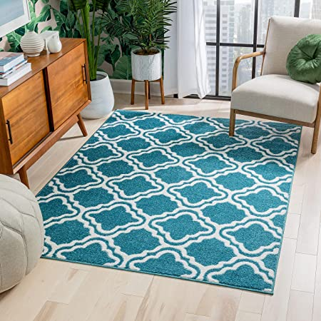 Harbor Trellis Light Blue Quatrefoil Geometric Modern Casual Area Rug 5x7 5 3 X 7 3 Easy To Clean Stain Fade Resistant Shed Free Contemporary Traditional Moroccan Lattice Living Dining Room