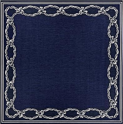 """Couristan Recife Rope Knot Area rug, 7'6"""" Square, Ivory-Indigo"""