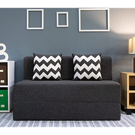 uberlyfe Two Seater Sofa Cum Bed - Perfect for Guests - Jute Fabric Washable Cover with 2 Cushion (Zigzag Pattern) - Dark Grey 4' X 6' Feet , SCB-001732-BK_Zigzag