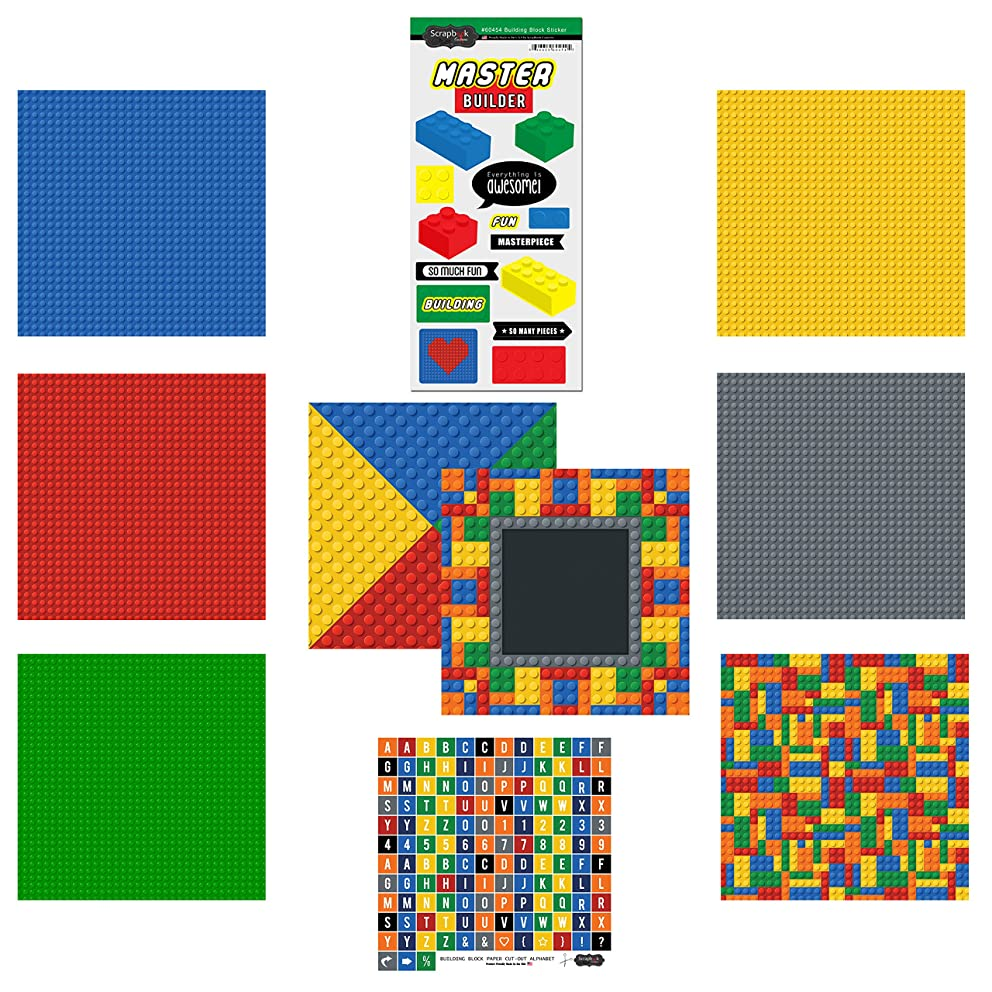 Scrapbook Customs Themed Paper and Stickers Scrapbook Kit, Master Builder Boy a72361873953