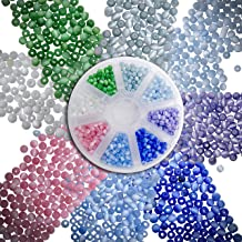 Over 1100 PCS 4mm Cat's Eye Glass Beads for Jewelry Making Adults w/Organizer Container, Glass Beads Bulk Assortment w/ 8 Colors, Bead Mix for Necklace & Bracelet Projects, Crafting Small Round Beads