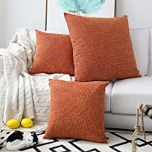 Kevin Textile Decorative Hand Made Faux Linen Throw Pillow Cover Cushion Case for Floor with Invisible Hidden, 26-inches(Set of 2, Orange)