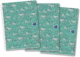 Oxford Floral - Cuaderno de espiral (A4, 140 páginas, 3 unidades), diseño floral