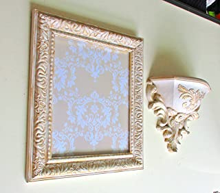 Wall Picture Frame and Wall Pocket, Heritage White and Gold, Shabby Chic, Distressed Vintage, Wall Decor, Baroque, Ornate Frame, Wedding Pictures, Nursery Room Decor, Classic, Wall Gallery, Frame Set