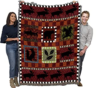 Pure Country Weavers | Adirondack Lodge Cabin Hunting Decor Woven Tapestry Throw Blanket with Fringe Cotton USA 72x54