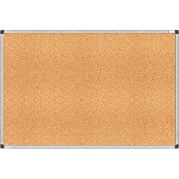 QUEENLINK Cork Notice Board Silver Aluminum Frame Cork Bulletin Board for Home Office School 90 x 120 cm with 6 Pins