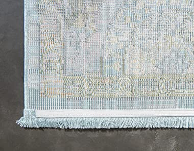 Unique Loom Baracoa Collection Bright Tones Vintage Traditional Area Rug, 8 Feet 4 Inch x 10 Feet, Light Blue/Beige