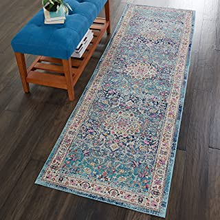 "Nourison Vintage Kashan Multicolor Oushak Area Rug, 2'4""X8', BLUE"