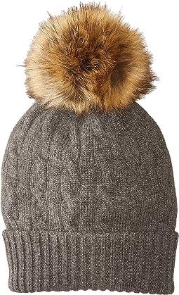 Polo Ralph Lauren - Cashmere Classic Cable Hat w/ Faux Fur Pom