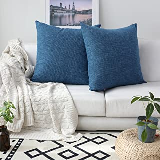 Kevin Textile Decorative Toss Pillow Case Star Striped Linen Cushion Cover for Sofa,Navy Blue,26x26-inch (66x66cm), 2 Packs