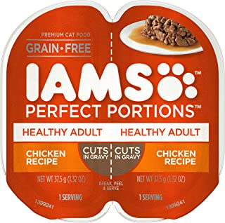 IAMS Perfect Portions Adult and Senior Grain Free Wet Cat Food, Cuts in Gravy (24 Twin Packs)