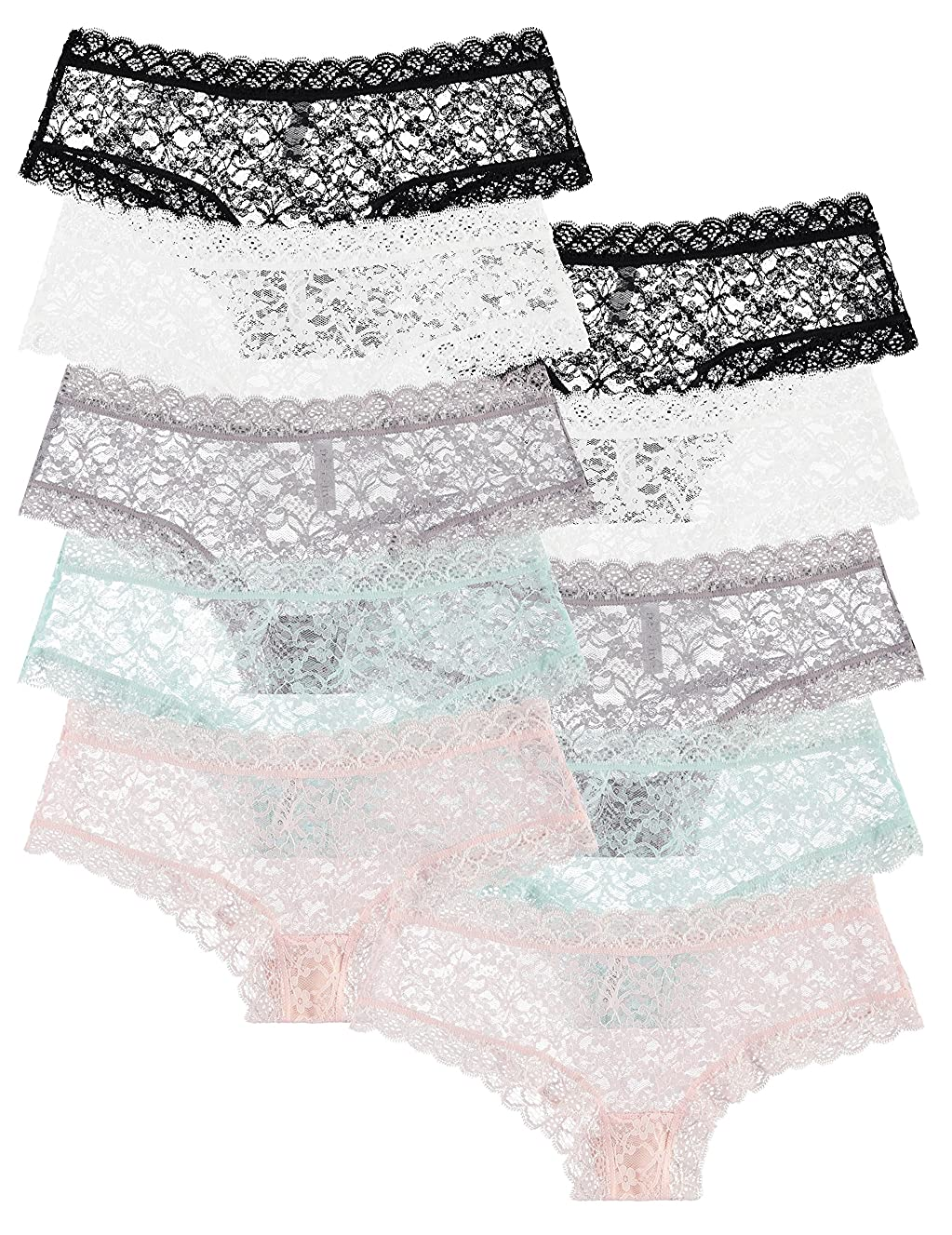 Free to Live 10 Pack Women's Lace Panties - Trimmed Boyshorts Underwear