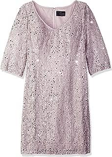 Women's Plus-Size Midi Length V-Neck Shift Dress with Sleeves