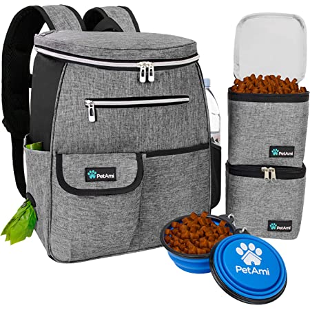 PetAmi Dog Travel Bag Backpack   Backpack Organizer with Poop Bag Dispenser, Multi-Function Pocket, Food Container Bag, Collapsible Bowl   Weekend Pet Travel Set for Hiking Overnight Camping Road Trip