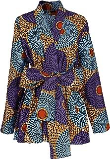 Shenbolen Women African Traditional Batik Print Long Sleeve Shirt Dashiki Casual Cotton Shirt