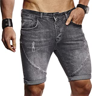 Leif Nelson LN9160 Men's Summer Shorts Jogger Jeans Basic Trousers 5-Pocket Destroyed Used Stretch Casual Trousers