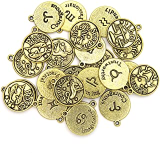 Cousin DIY Zodiac Charm Set for Jewelry Making, 24 Count, Gold 24 Count
