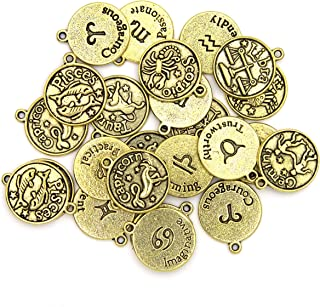 Cousin DIY Zodiac Charm Set for Jewelry Making, Gold, 24 Count