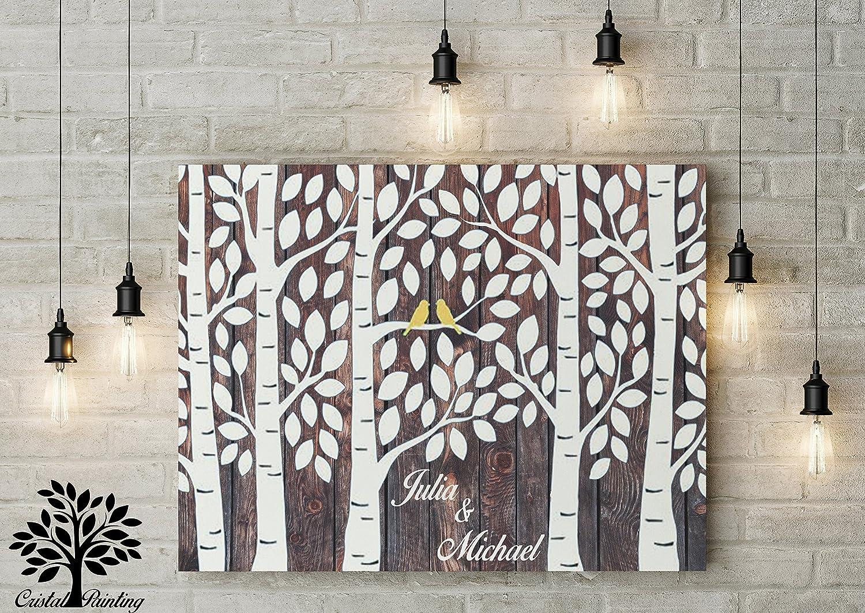 80x60 cm Gstebuch Hochzeitsbaum Wedding Tree, Alternative Gstebuch Leinwanddruck - Baum, Leinwand, Keilrahmen und Holz Motiv