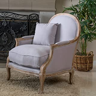 Christopher Knight Home 238615 Lennon Weathered Hardwood Fabric Arm Chair, Natural