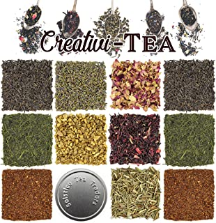 Loose Leaf Tea Sampler Gift Set Assortment — Create Your Own Tea Blend Starter Kit w/ Sencha, Rooibos, China Black, & Ging...