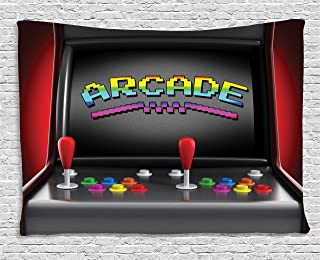 Ambesonne Video Games Tapestry, Arcade Machine Retro Gaming Fun Joystick Buttons Vintage 80's 90's Electronic, Wide Wall Hanging for Bedroom Living Room Dorm, 60
