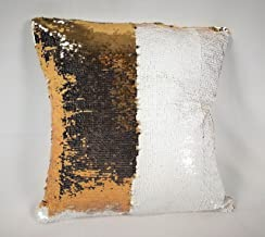 StarGo Sequins Color Changing Cushion Cover (Cover ONLY) (Cream Gold (shiny), 18 x 18