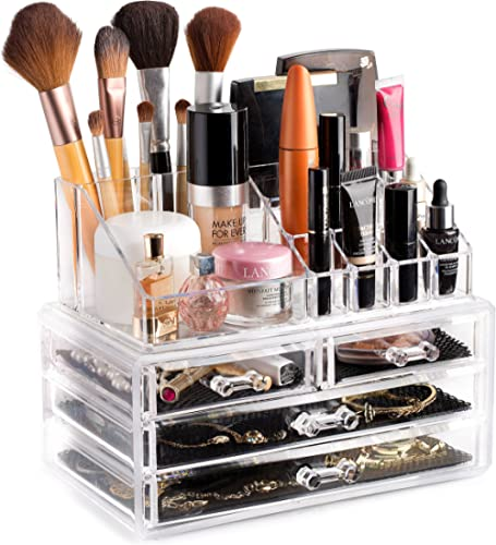 Clear Cosmetic Storage Organizer - Easily Organize Your Cosmetics, Jewelry and Hair Accessories. Looks Elegant Sittin...
