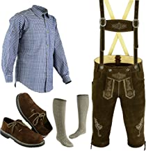 Mens Oktoberfest Trachten Lederhosen Bundhosen Costume Brown 4 Pc Complete Set