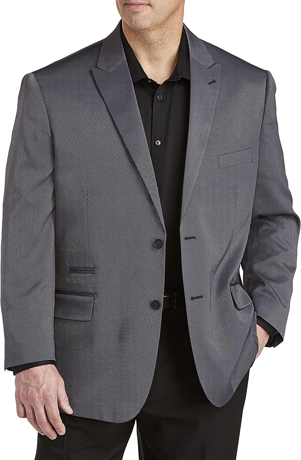 DXL Synrgy Big and Tall Jacket Relaxer Performance Tonal Pattern Sport Coat, Grey