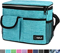 OPUX Lunch Bag Insulated Lunch Box for Women, Men, Kids | Medium Leakproof Lunch Tote Bag for School, Work | Lunch Cooler with Shoulder Strap, Pocket | Fits 8 Cans (Sea Blue)