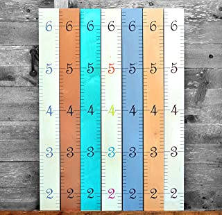 wooden photo height chart