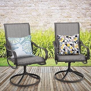MF STUDIO 2 Pieces Patio Metal Dining Swivel Chairs Bistro Backyard Rocker Chairs Weather Resistant Garden Outdoor Furniture, Sling Mesh Brown Steel Frame, Grey